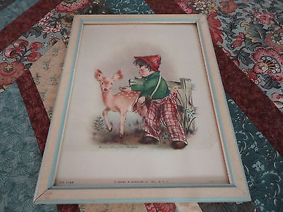 1940s Lithograph Marion Bradford Burgess Henry Sandler Co NYC 1125 Boy with Deer