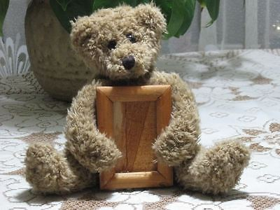 Brown Sitting Teddy Bear Plush Holding Wooden Picture Frame 7 Inch