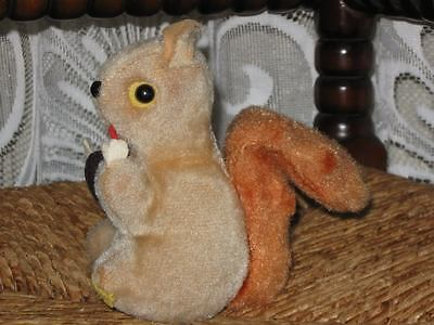 Antique Old German Squirrel Toy Holding a Nut Silk Plush 13 cm 5.1 inch