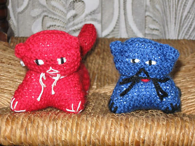 Vintage Lot of 2 Hand Knitted Woolen Cats Red and Blue Europe Made
