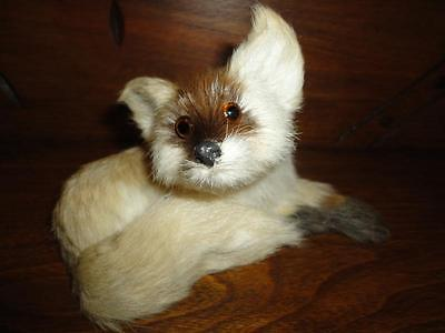 Antique Vintage Real Fur Laying FOX Statue Glass Eyes 6 inch Rare Adorable