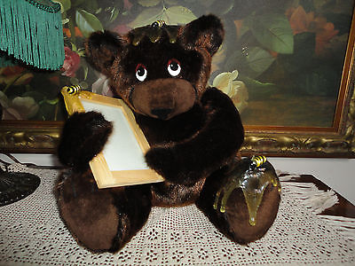 Artist Designed Brown BEAR with Bees & Picture Frame Rare OOAK Faux Mink 13""