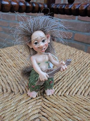 Artist June Karlsen Troll Figurine with Guitar Musical Collection Rare Designed