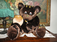 Artist Designed JUMBO Brown BEAR with BEES & HONEY POT Rare OOAK Faux Mink 16