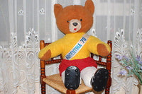 Vintage 1978 Argentina World Cup Champions Soccer Bear Brown 31.5 Inch 80 cm