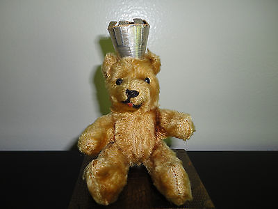 Antique 1950's Germany Mohair BERLIN Tongue BEAR with Metal Mechanism 5 inch