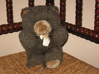 Aurora UK Brown Teddy Bear Plush with Golden Bow 9 Inch 1989