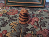 1996 TCR Artist Wood Framed Cat Picture with Handmade Clay Cat Figurine