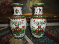 Antique Chinese 2 Oriental Porcelain Vase Set Hand Painted Gold Trimmed 6.5 inch