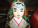 Japanese Wedding Dolls Bride Groom Set Kimono Brocade Glass Eyes Hand Painted 7""