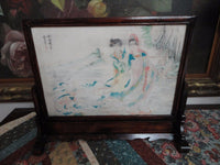 Antique Chinese Artist Hand Painted Marble in Rosewood Framed Stand 12x14 inch