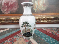 Antique Chinese Porcelain Vase Hand Painted Landscape Scenery 6.5 inch