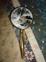 Antique Chinese Brass Hand Held Mirror Handpainted Porcelain Landscape 5 inch