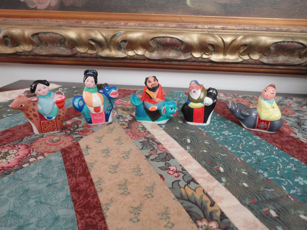 Antique Chinese Hand Painted Clay Figurines Set 5 Men and Women Riding Animals