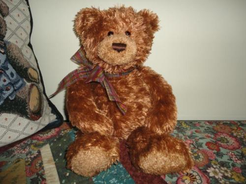 Gund Copper Brown Teddy Bear Stained Glass Chiffon Ribbon 13 inch