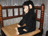 Old Antique German Black Monkey 20 Inch 51 CM Artificial Silk Mohair 1930s