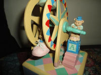 Handmade Wooden Wind Up MUSICAL FERRIS WHEEL Baby Mice & Bear Vintage Moving