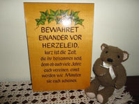 Vintage Handpainted Wooden Sign Poem Made in Germany