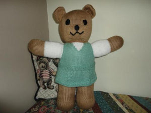 Handmade Knitted Girl Bear One of a Kind 19 inches tall