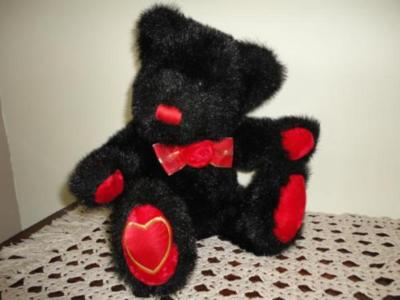 Dan Dee Black Bear Stuffed Plush Velvet Rose and Paws