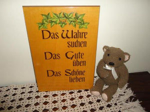 Vintage Handpainted Wooden Sign Made in Germany