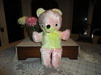 Antique Ganz Bros Teddy Pink Yellow Plush 16 inch