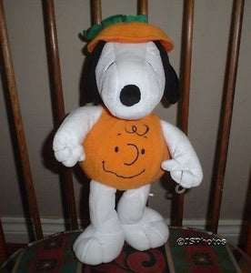 Hallmark Halloween Snoopy Plush Stuffed Animal As Charlie Brown Face Pumpkin