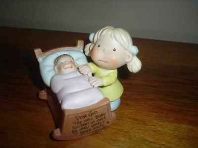 Enesco Figure Dear God Kids Girl with Baby Vintage 1982
