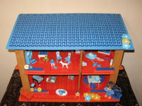 Old Vintage Dutch Holland Sio Doll House Blue Roof w Miniatures Tin Rico Spain