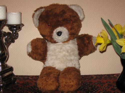 Old UK Bear Copper Brown and White Plush With Glass Eyes