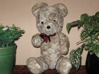Antique 1930s Dutch Arthur Van Gelden Bear Gray Mohair Squeaker 14 Inch
