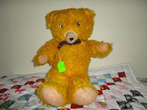 Antique 1950s Yellow Center Seam Teddy Bear Plush 18in Working Growler Felt Paws