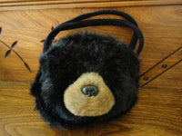 Bearington Bears BLACK BEAR Purse Furry Stuffed Plush Hand Bag