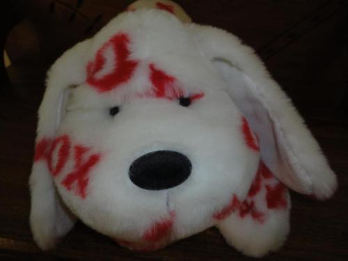 Hugs & Kisses Large DOG Heavy Weight 22 inch Laying Soft Furry Plush
