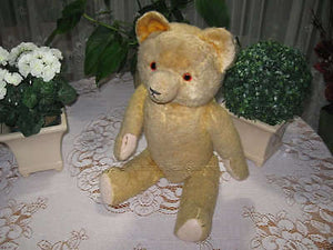 Antique 1930s Hermann Beha Germany Teddy Bear Bear 23 inch Beige Silk Plush