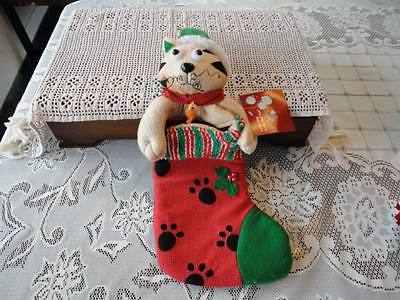 CAT Christmas Stocking Handcrafted New With All Tags