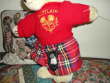 Scotland Vintage Teddy Bear Kilt & Knitted Sweater Jointed 15 inch