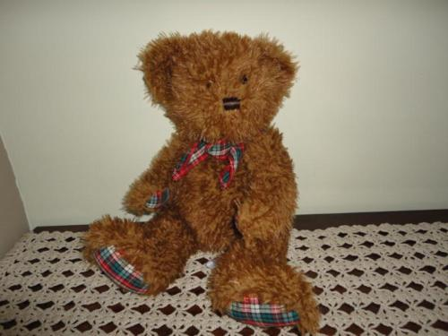 Shaggy Teddy Bear Super Soft with Plaid Paws 15 inch