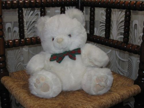 Tcc Continuity UK 1980s White Plush Bear 26 CM with Bow