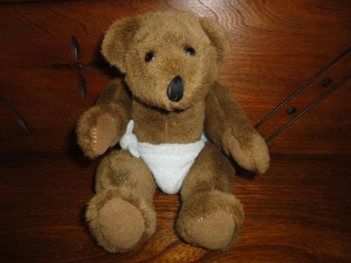 Humpback Brown Baby Teddy Bear in Diaper 9 inch Jointed