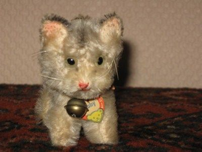 Steiff Antique Mohair TABBY Cat w Bell & Shield