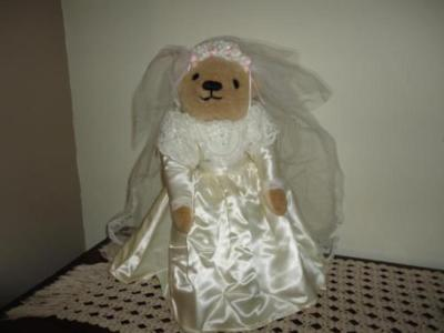 Franklin Mint Edwina Wedding Bride Bridal Bear Satin Lace Gown 18in. Garter Ring