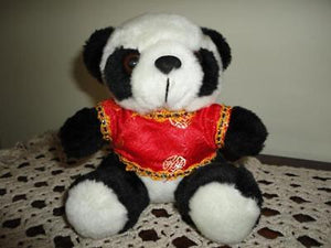 Chinese Panda Bear Stuffed Plush in Satin Shirt