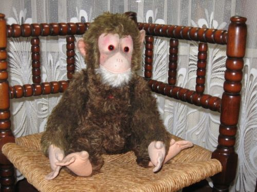 Old Antique 1950s German Hermann Mohair Monkey Sean 47 CM Working Squeaker
