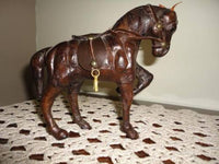 Vintage Leather Horse Figurine Handmade Very Detailed Rare