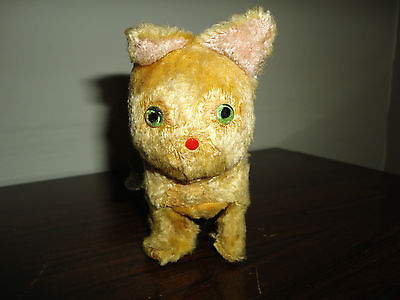 Antique Tin Wind Up Mechanical Cat Occupied Japan Silk Plush Glass Eyes Works