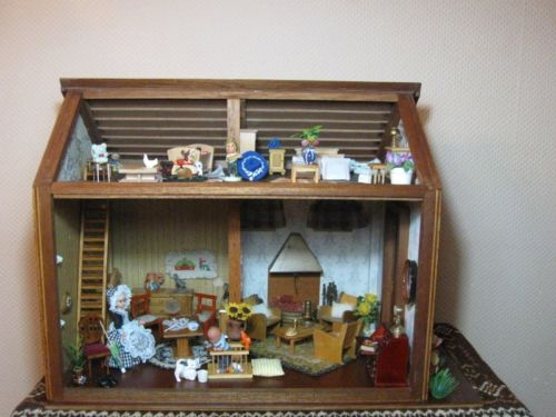 Antique German 1950s Wooden Doll Farm House 2 Story Includes Miniatures
