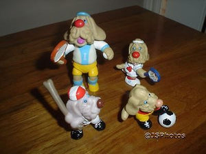 4 Wrinkles Dogs Ganz Bros 1985 Rubber Sports Figures