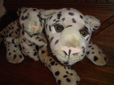 Ganz 1996 Laying LEOPARD MOTHER with BABY 27 inch Rare Retired Velvet Soft