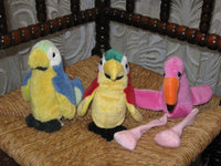 PIA Holland PARROTS & FLAMINGO BIRDS Plush Lot of 3 Rare